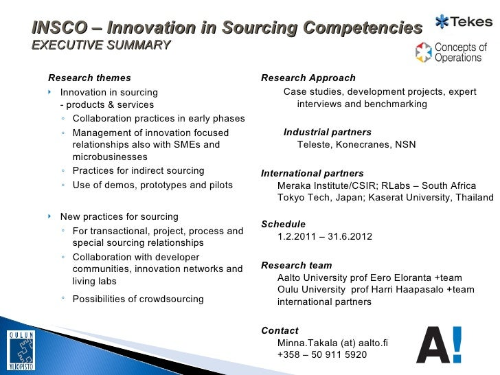 INSCO – Innovation in Sourcing CompetenciesEXECUTIVE SUMMARY  Research themes                                 Research App...