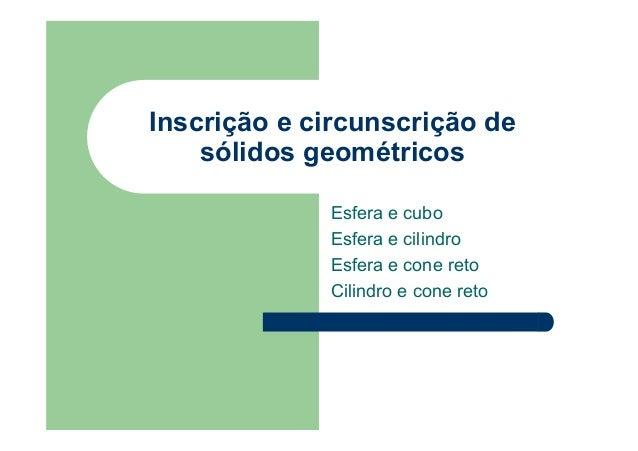 Inscrição e circunscrição de sólidos geométricos Esfera e cubo Esfera e cilindro Esfera e cone reto Cilindro e cone reto