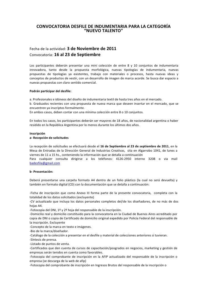 """CONVOCATORIA DESFILE DE INDUMENTARIA PARA LA CATEGORÍA                       """"NUEVO TALENTO""""Fecha de la actividad: 3 de No..."""