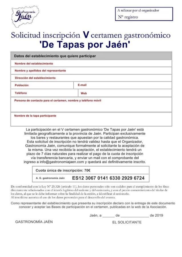 Inscripcion de tapas por jaen