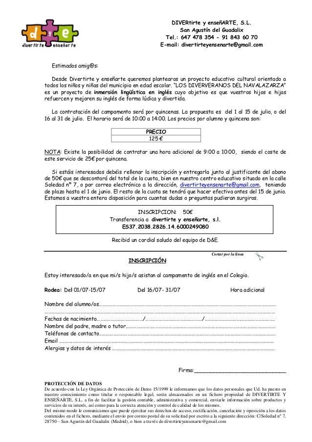 DIVERtirte y enseñARTE, S.L. San Agustín del Guadalix Tel.: 647 478 354 - 91 843 60 70 E-mail: divertirteyensenarte@gmail....