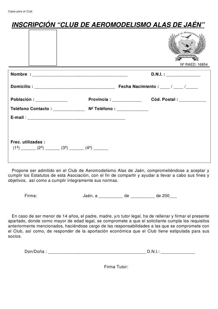 """Copia para el Club      INSCRIPCIÓN """"CLUB DE AEROMODELISMO ALAS DE JAÉN                CLUB                          JAÉN""""..."""
