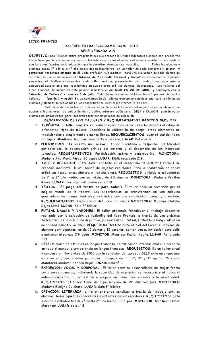 LICEO FRANCÉS                         TALLERES EXTRA-PROGRAMÁTICOS 2010                                 SEDE VERGARA 219 O...