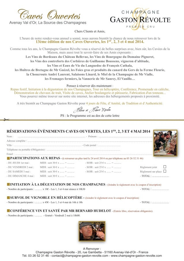 Inscription et programme des Caves Ouvertes 2014 chez Champagne Gaston Révolte