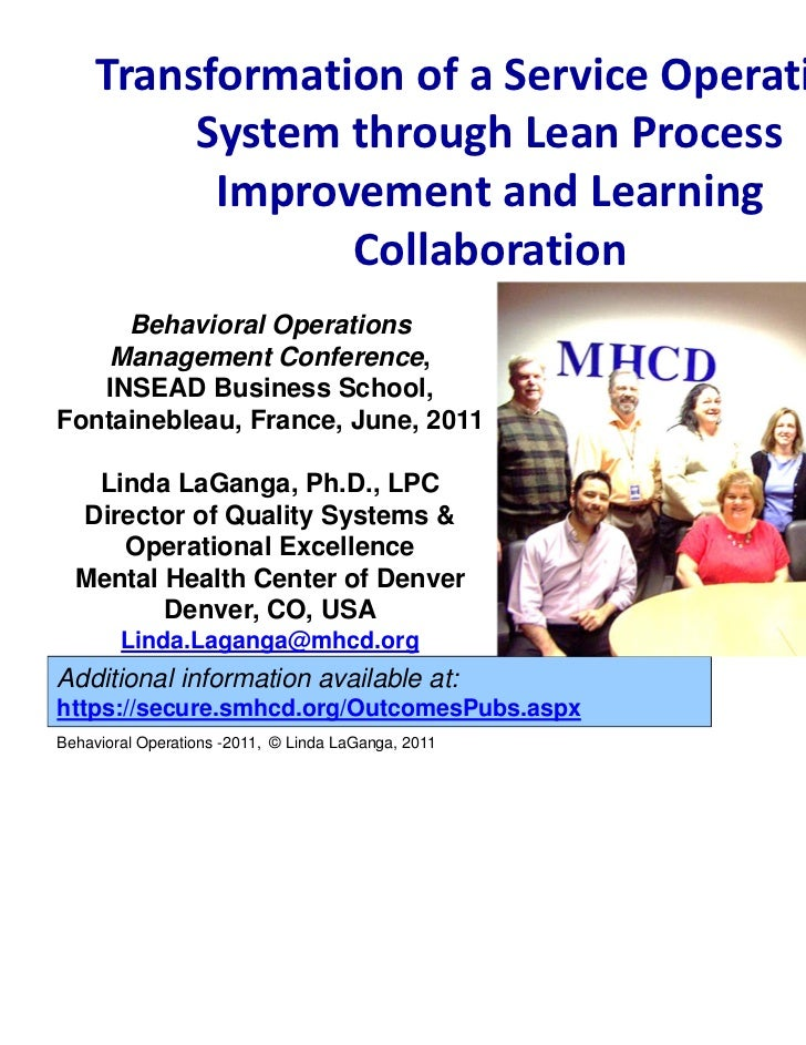 TransformationofaServiceOperations          SystemthroughLeanProcess           ImprovementandLearning         ...