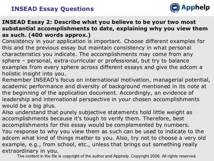 Insead mba essay