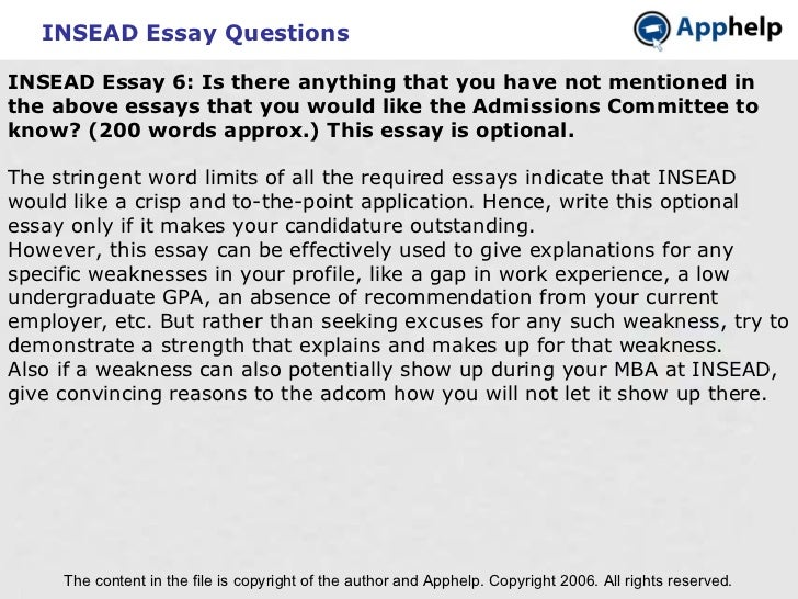 insead essay questions Find insead essays here for class of 2018-19 with all the information like application deadlines, gmat score range, acceptance rate etc click here.