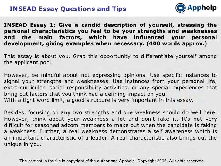 tmdsas personal characteristics essay example