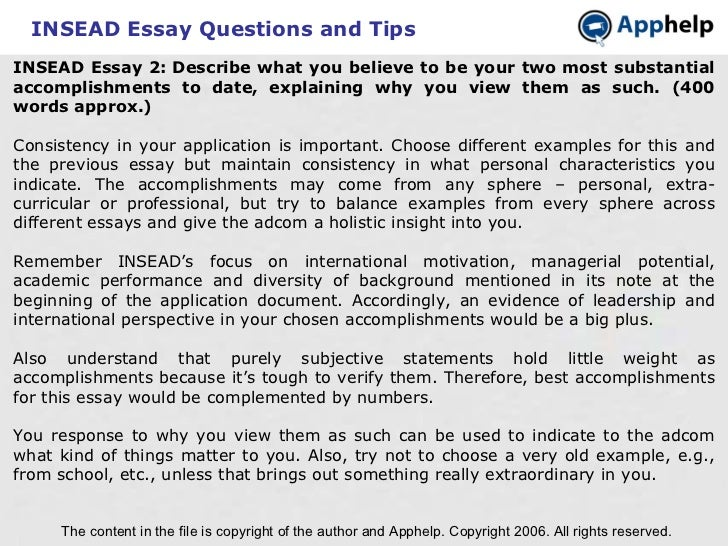 Insead MBA Motivational Essay One: