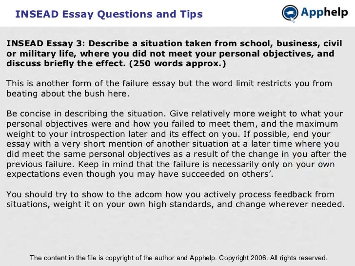 insead essay word limit