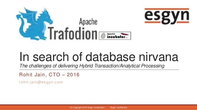 In search of database nirvana The challenges of delivering Hybrid Transaction/Analytical Processing Rohit Jain, CTO – 2016...