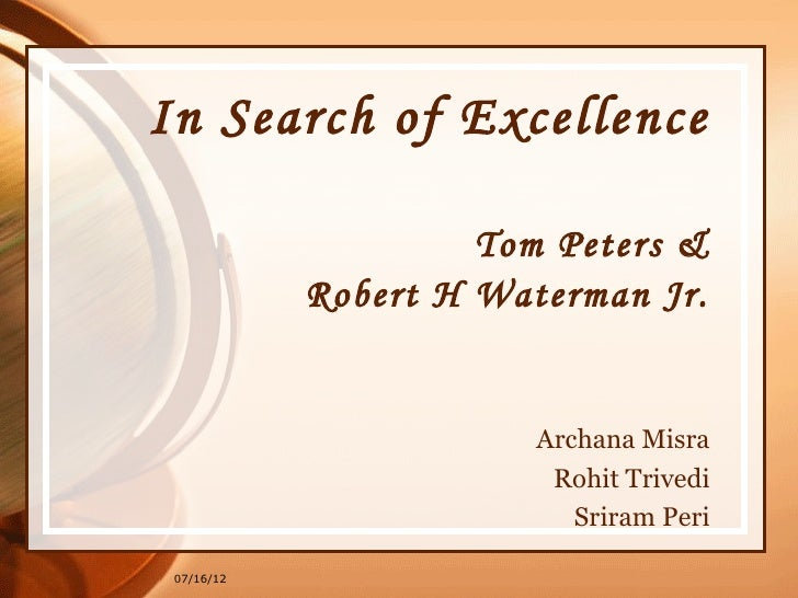 a review of the book in search of excellence by tom peters and robert h waterman jr
