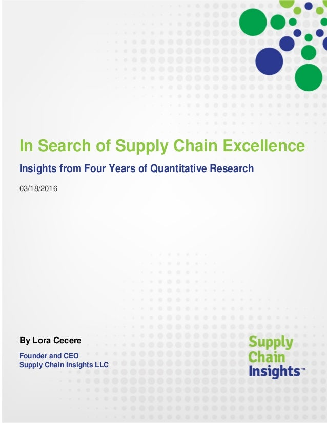 In Search of Supply Chain Excellence - Report - 17 MAR 2016