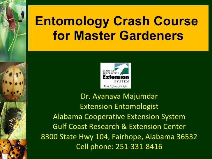 Entomology Crash Course  for Master Gardeners Dr. Ayanava Majumdar Extension Entomologist Alabama Cooperative Extension Sy...