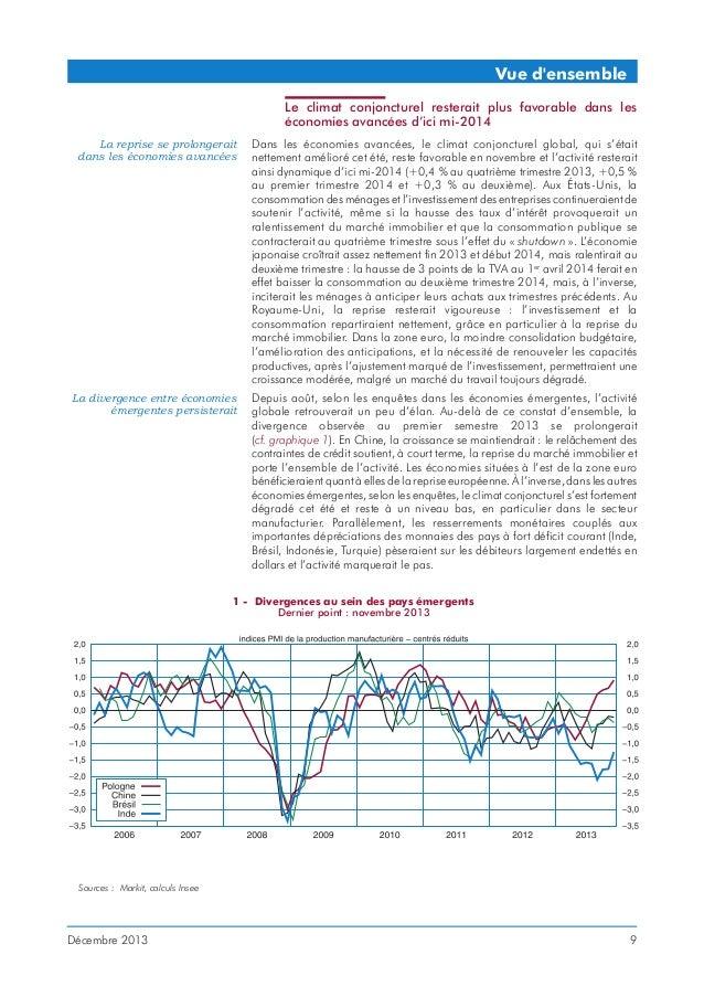Vue d'ensemble Le climat conjoncturel resterait plus favorable dans les économies avancées d'ici mi-2014 La reprise se pro...