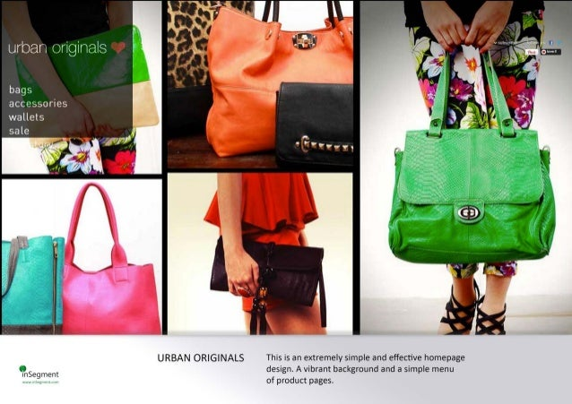 bags acc esso ries wallets  URBAN ORIGINALS This ìs an extremely simple and effective homepage design.  A vibrant backgrou...