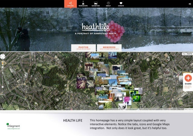 HEALTH LIFE This homepage has a very simple Iayout coupled with very x. ' interactive elements.  Notice the tabs,  icons a...