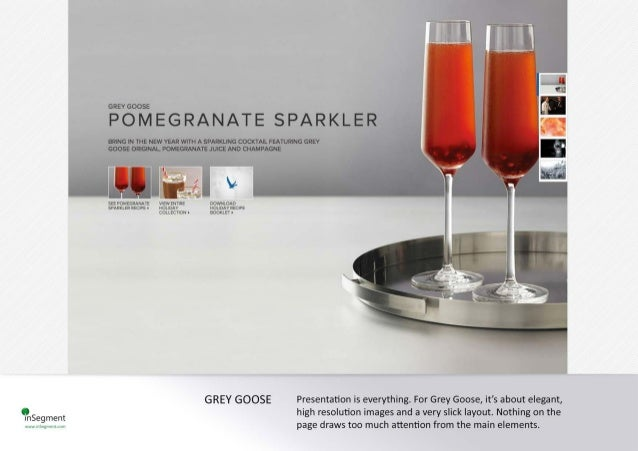 GREYGOOSE   POMEGRANATE SPARKLER  BRING IN THE NEW VEAR WITH A SPARKLING COCKTAIL FEATURING GREY ' ' ,  GOOSE ORIGINAL,  P...