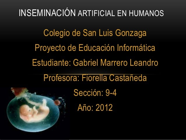INSEMINACIÓN ARTIFICIAL EN HUMANOS      Colegio de San Luis Gonzaga   Proyecto de Educación Informática   Estudiante: Gabr...