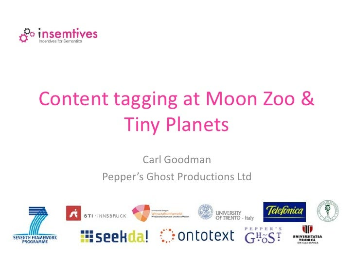 Content tagging at Moon Zoo &         Tiny Planets              Carl Goodman      Pepper's Ghost Productions Ltd
