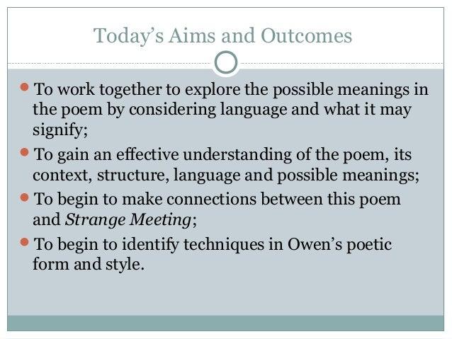 strange meeting wilfred owen meaning
