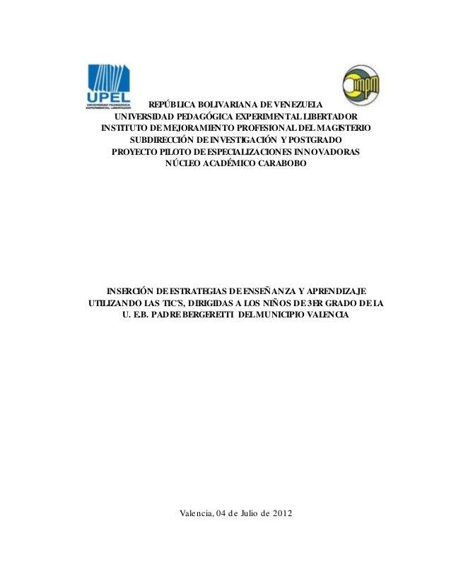 REPÚBLICA BOLIVARIANA DE VENEZUELAUNIVERSIDAD PEDAGÓGICA EXPERIMENTAL LIBERTADORINSTITUTO DE MEJORAMIENTO PROFESIONAL DEL ...