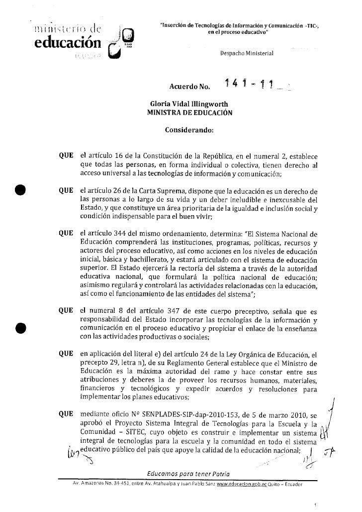 Inserción de las tic en el proceso educativo acuerdo ministerial 141 11