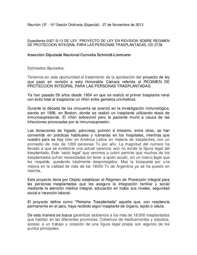 Reunión 12º - 10° Sesión Ordinaria (Especial) - 27 de Noviembre de 2013  Expediente 0027-S-13 DE LEY. PROYECTO DE LEY EN R...
