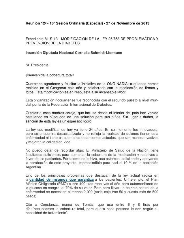 Reunión 12º - 10° Sesión Ordinaria (Especial) - 27 de Noviembre de 2013  Expediente 81-S-13 - MODIFICACION DE LA LEY 25.75...