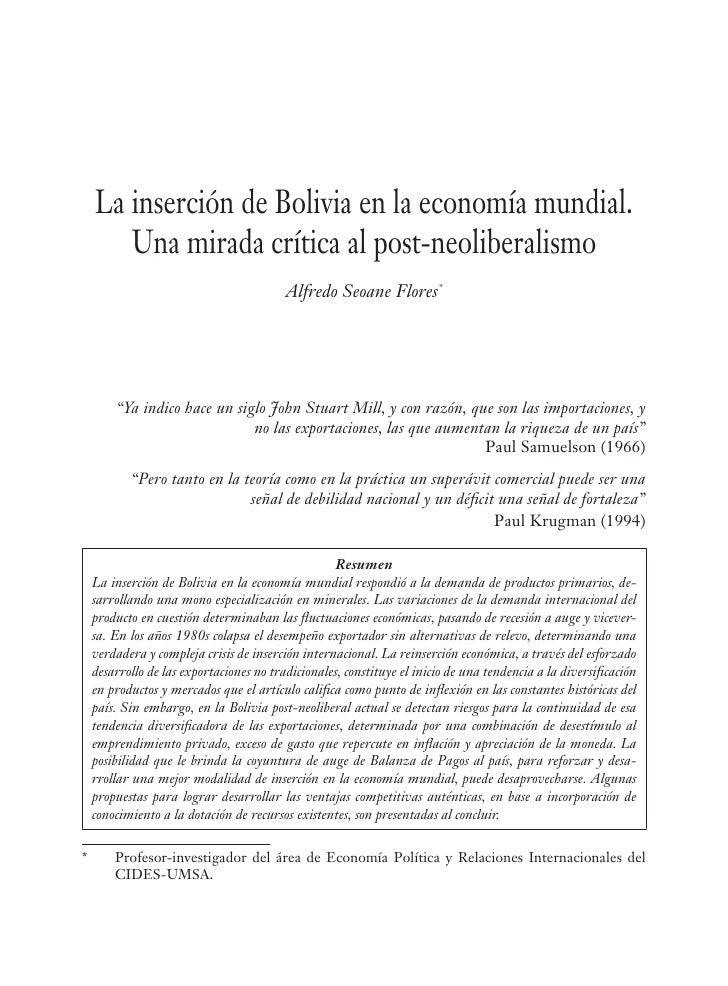 La inserción de Bolivia en la economía mundial.        Una mirada crítica al post-neoliberalismo                          ...