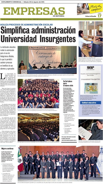 SUPLEMENTO COMERCIAL | Sábado 20 de Agosto del 2011      EMPRESAS  Gerente de Ventas: Cinthya ángeles. Editor: José Luis J...
