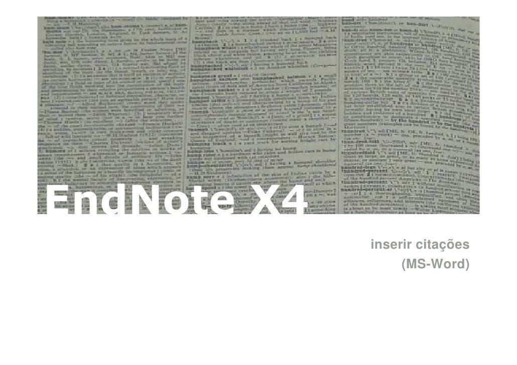 EndNote X4: Inserir citações (ms-word)