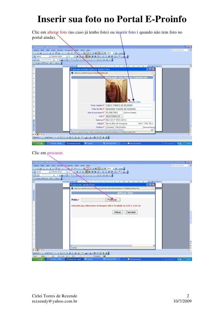 Inserir sua foto no Portal E-Proinfo Slide 2