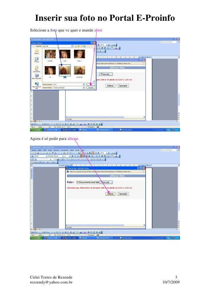 Inserir sua foto no Portal E-Proinfo Slide 3