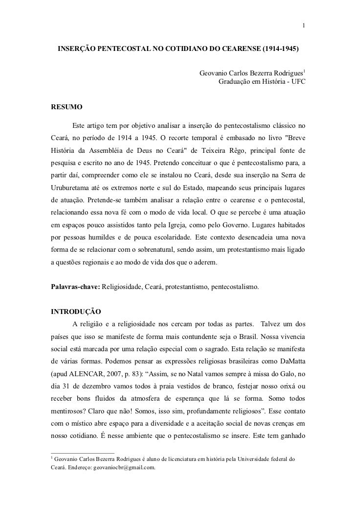 Inserção pentecostal no cotidiano do cearense (1914 1945)