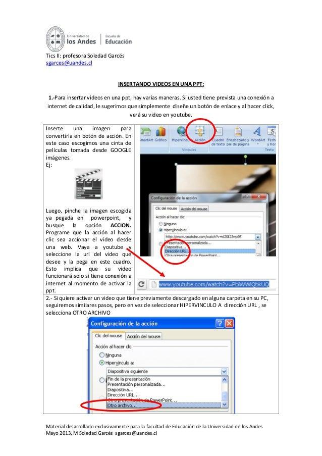 Material desarrollado exclusivamente para la facultad de Educación de la Universidad de los AndesMayo 2013, M Soledad Garc...