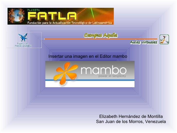 Elizabeth Hernández de Montilla San Juan de los Morros, Venezuela Insertar una imagen en el Editor mambo