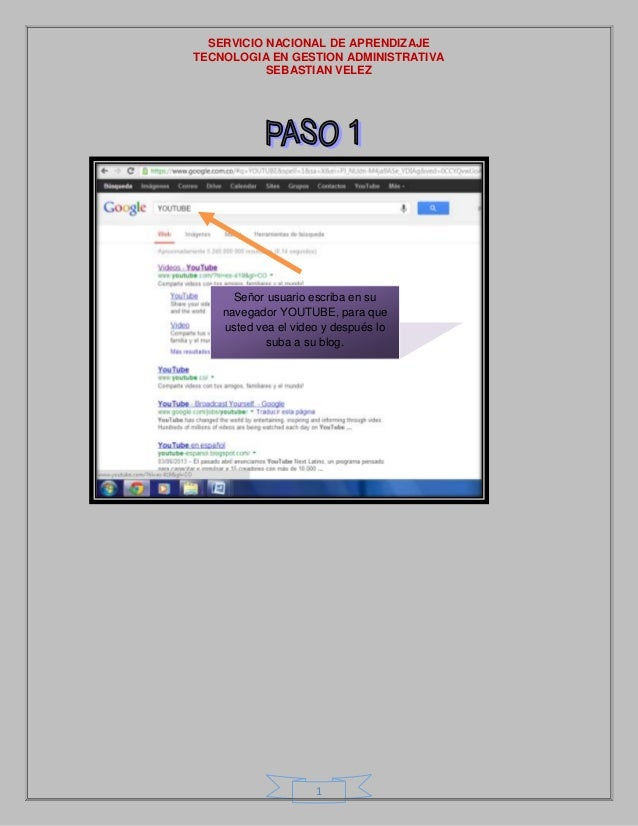SERVICIO NACIONAL DE APRENDIZAJE TECNOLOGIA EN GESTION ADMINISTRATIVA SEBASTIAN VELEZ 1 Señor usuario escriba en su navega...