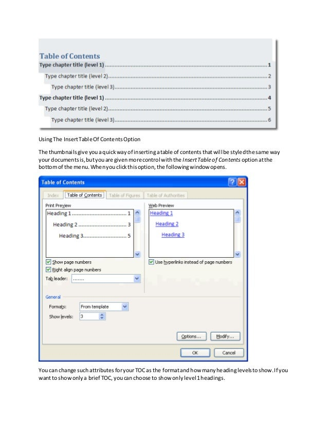 how to add table of contents in word 2010