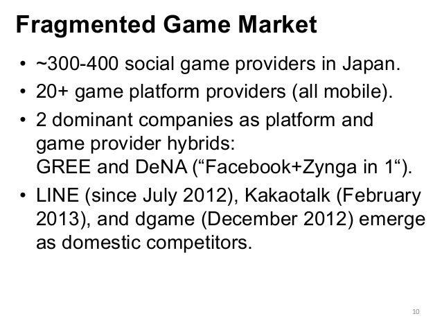 Fragmented Game Market      • ~300-400 social game providers in Japan. • 20+ game platform providers (all mobile). •...