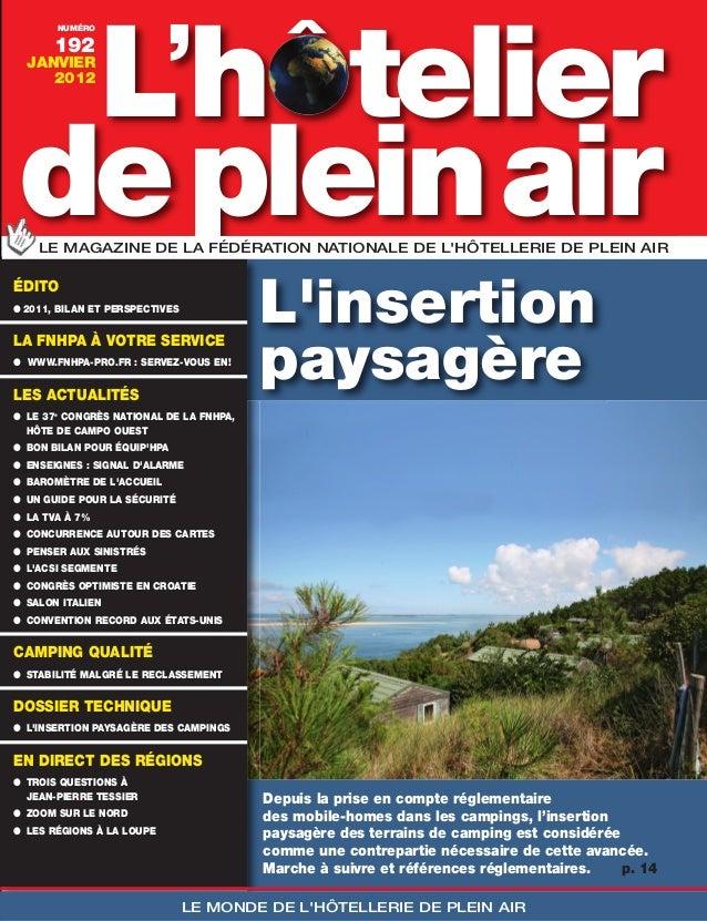 ^      telier    L'h       NUMÉRO       192  JANVIER     2012de plein air    LE MAGAZINE DE LA FÉDÉRATION NATIONALE DE LHÔ...