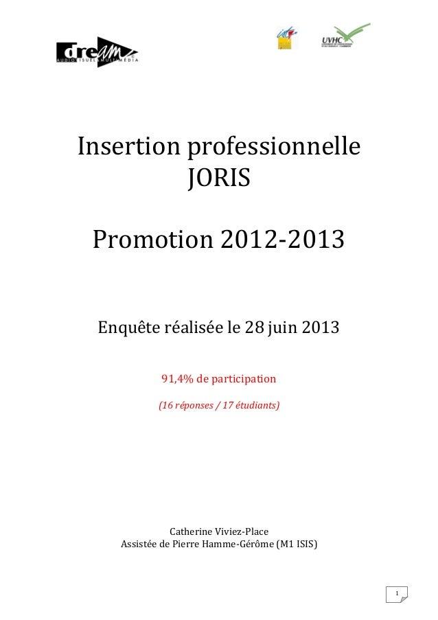 Insertion professionnelle JORIS Promotion 2012-2013 Enquête réalisée le 28 juin 2013 91,4% de participation (16 réponses /...