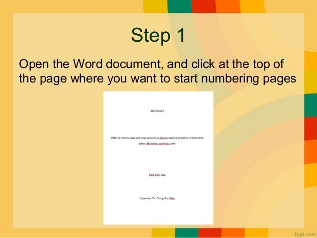 How to insert page numbering in specific page how to insertpage numberingin specific pagefor microsoft word 2007prepared by chia siew lian 2 ccuart