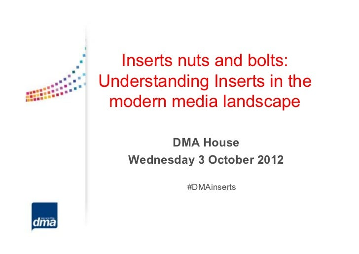Inserts nuts and bolts:Understanding Inserts in the modern media landscape         DMA House   Wednesday 3 October 2012   ...