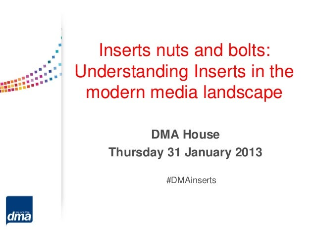 Inserts nuts and bolts:Understanding Inserts in the modern media landscape          DMA House    Thursday 31 January 2013 ...