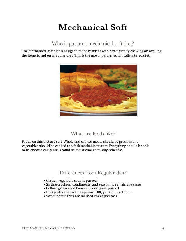 Mechanical Soft Diet Food Examples