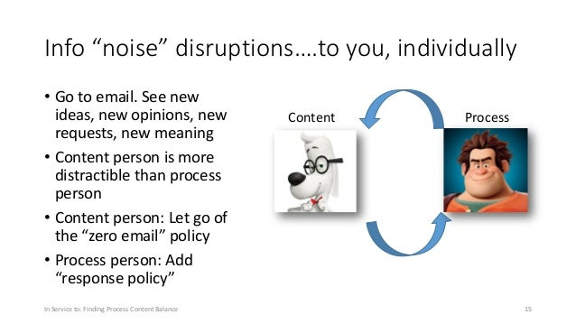 """Info """"noise"""" disruptions….to you, individually • Go to email. See new ideas, new opinions, new requests, new meaning • Con..."""