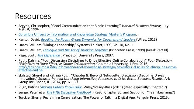 """Resources • Argyris, Christopher, """"Good Communication that Blocks Learning,"""" Harvard Business Review, July- August, 1994. ..."""
