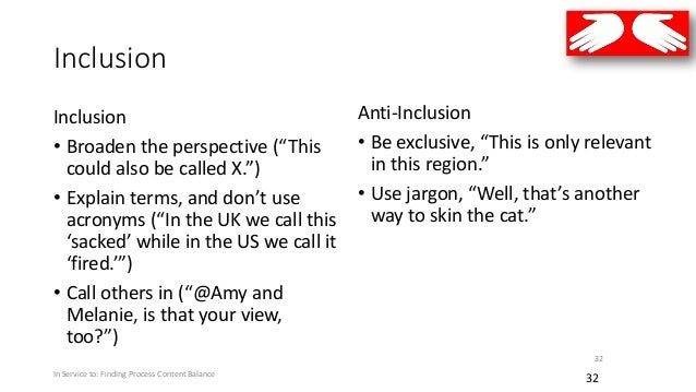 """Inclusion Inclusion • Broaden the perspective (""""This could also be called X."""") • Explain terms, and don't use acronyms (""""I..."""