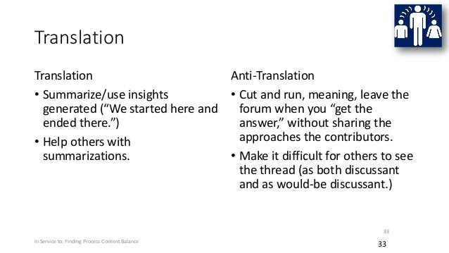 """Translation Translation • Summarize/use insights generated (""""We started here and ended there."""") • Help others with summari..."""